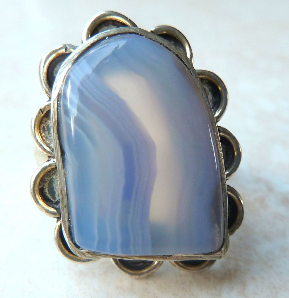 Blue Lace Agate Ring Uk